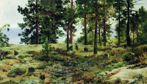On sandy soil mary howie on finnish railways 1890, Artist: Shishkin, oil painting