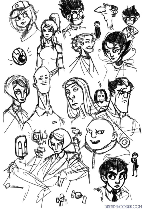 Sketches from the livestream, mostly existing or upcoming characters from Dark Science. Also Korra for some reason.