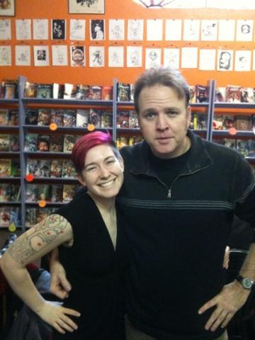 Kirk Vanlund took this photo of Jeff Parker and I at our Cosmic Monkey Comics signing yesterday! Thank you!