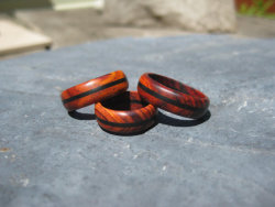 Book Matched Wooden Triple Band Rings by gammamike Unique and Simple! posted by http://aliljazz.tumblr.com