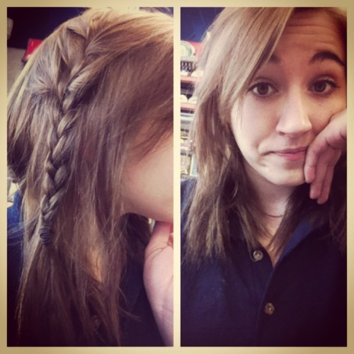 Bored as rocks at work. #picstitch #braid #hair #work #xtramart #xtramartlife #life #bored