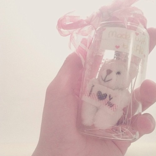 made with love, by fle♥ #bear #ribbon #bottle #byMe #white #iloveyou #instagood #instamood #instadaily #dailypict #nofilter #ipadography