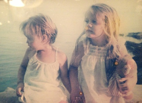 Sea wall 1990. My sister and me.