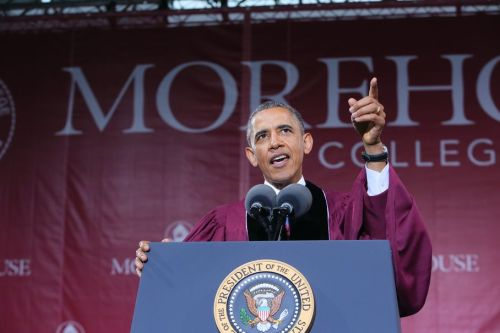 smudgemark:  President Barack Obama giving the Commencement Address at Morehouse College today.