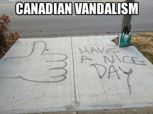 Canadian Vandalism Get oota here with that scoondrel behaviour!