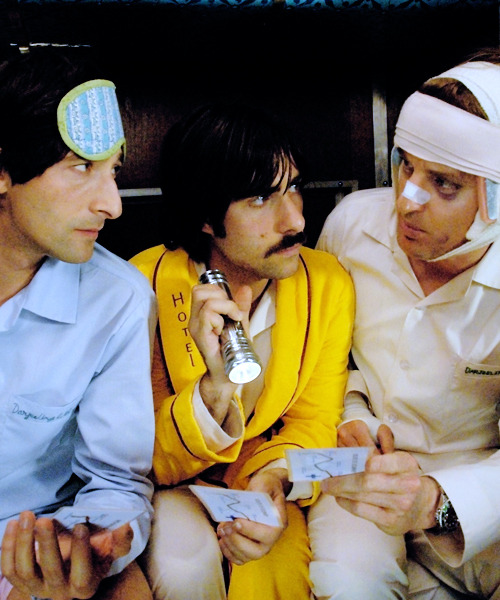cinyma:  Adrien Brody, Jason Schwartzman and Owen Wilson in 'The Darjeeling Limited' Directed by Wes Anderson, 2007.
