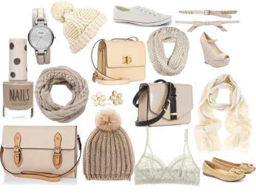 Eleanor insprired cream/beige items by ieleanorcalderstyle featuring a bow beltHanky Panky  / Steve Madden wedge heels / Converse white shoes / Wallis flat heels / Chloé leather shoulder bag / Victoria Beckham leather satchel, $1,605 / River Island , $40 / FOSSIL wrap watch / Marc by Marc Jacobs marc jacobs earrings / AllSaints  / John Lewis , $48 / Pom knit beanie / Zara studded belt / Oasis fake fur hat, $16 / Oasis sequin scarve, $26 / Bow belt / Nail polish, $8.06