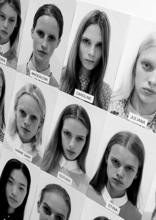 chocolatepiewithwhip:  forthosewhocravefashion:  Casting board backstage at Sacai S/S 2013  Dat one Asian girl…   it's like attack of the clones