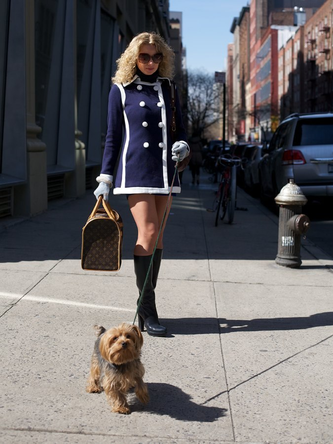 Girl, Dog, LV Bag