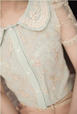 Lacy Mint and Delicate Embroidery ~ La