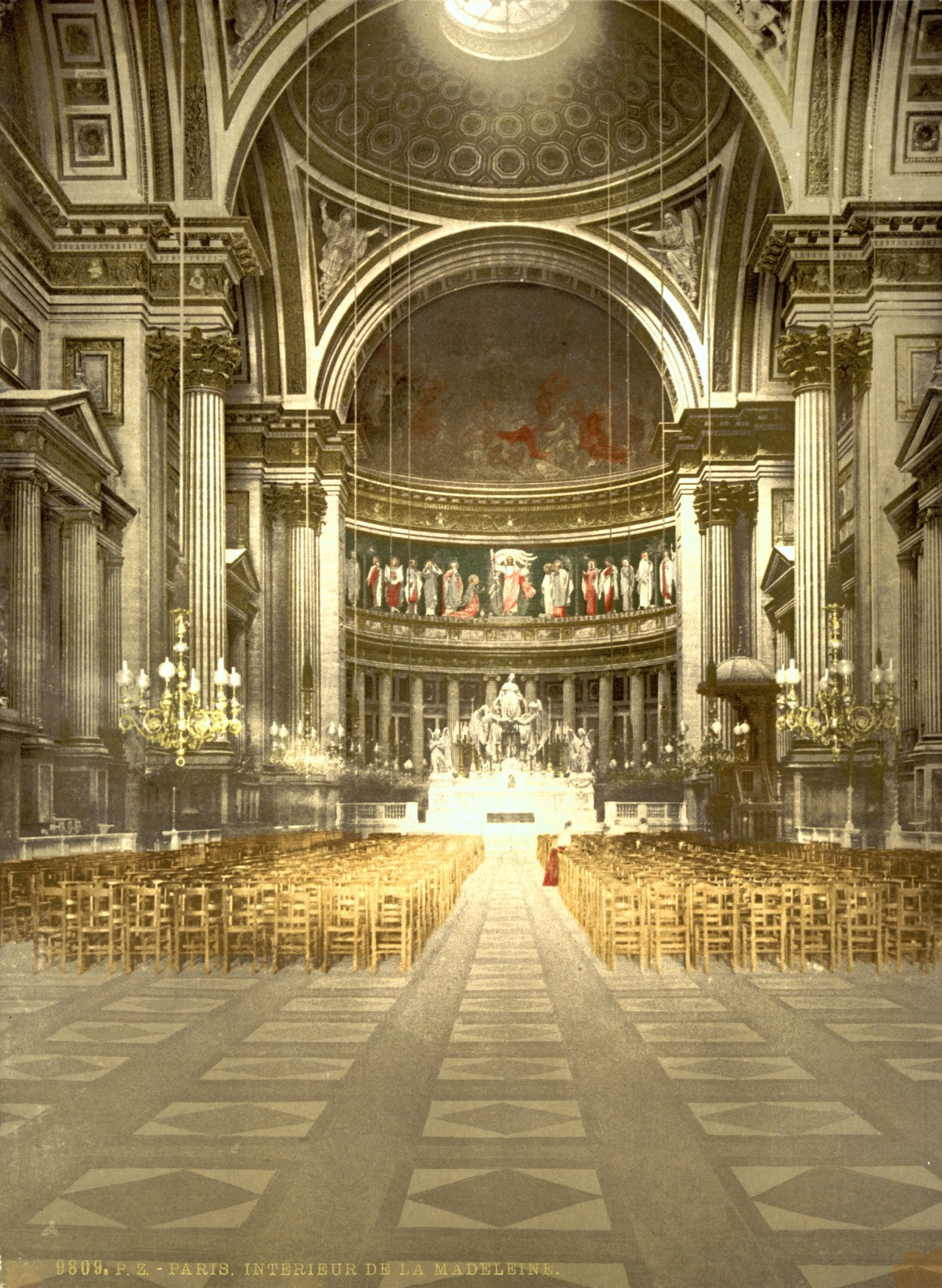 Inside the Eglise de la Madeleine around 1900, Paris