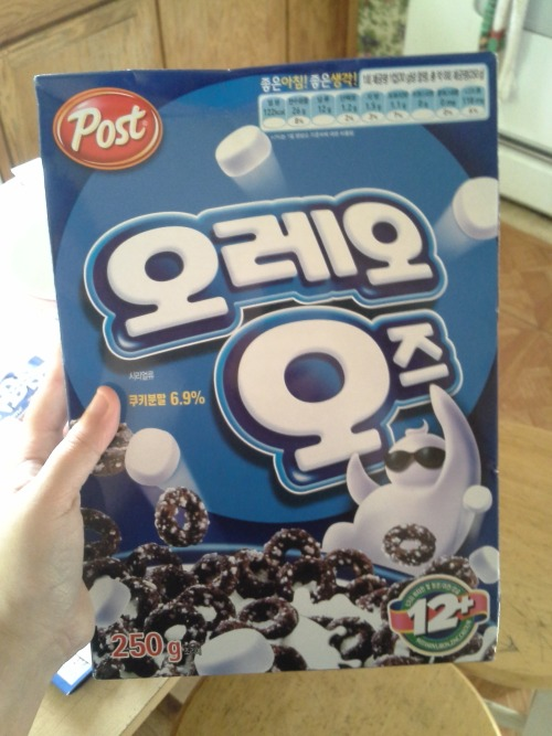 cindry:  every once in a while my brother mentions how much he liked oreo os cereal and was really bummed out they discontinued it and i didnt think much about it but this morning he got a package from south korea? i cant even fucking believe this