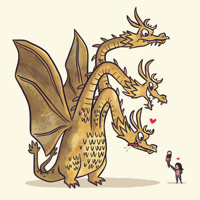 "xombiedirge:  A Kaiju Romance Series by Christopher Lee / Tumblr / Store 4"" X 4"" mini print series collecting 22 kaiju's in total. Preview the full set HERE. All love hearts will be hand painted cel vinyl acrylic. Available at the end of March 2013, HERE."