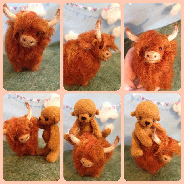 Highland Cow by riamelin on Flickr.Needle felted highland cow and bear!
