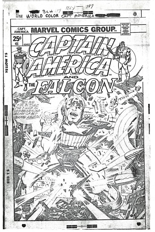 """This way for action!"" - a full sized photocopy of Jack Kirby's pencil art for the cover for his story ""The Rocks Are Burning!"" that was first published by Marvel Comics in Captain America 197, dated May 1976."