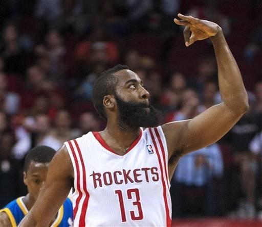 "James Harden and the Houston Rockets tied an NBA record with 23 three-points in a blowout win over the Warriors. At the end of three quarters, the Rockets were 18-27 from long-range, but shot ""only"" 5-13 the rest of the way. For the game, they were 57% on three-pointers, but only 45% on twos - they made as many three-point shots as two-point shots. Jeremy Lin made five, James Harden and Chandler Parsons each hit four, and even Donatas Motiejunas made one, the fourth of his career. The hero for Golden State, if a 140-109 loss can have a hero, was Draymond Green. When Patrick Beverley tried to put up the record-setting three with 35 seconds left, Green knocked him down, earning an ejection, but also the respect of his peers. On a night where most of the Warriors didn't show up at all, Green showed some real pride. The White Chris Webber should offer to pay his fine. (AP Photo/Dave Einsel)"