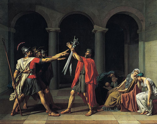 cavetocanvas:  Jacques-Louis David, Oath of the Horatii, 1784 Things to think about when studying: What movement does this painting fit into? What elements of the work does the artist draw your attention to? (both narrative and stylistic)