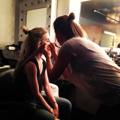 Beauty Behind The Scenes… @mararoszak gets a quick touch-up by @makeupbyvera #makeup #photoshoot #behindthescenes
