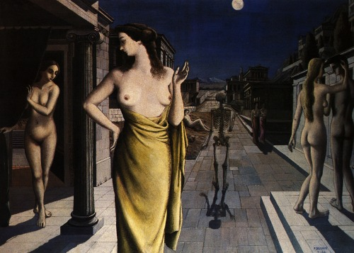 Paul Delvaux La Ville Lunaire (Lunar City) . c.1944 oil on canvas.