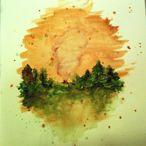 I decided to start a series of little watercolor scene paintings. Making insomnia productive one sleepless night at a time.