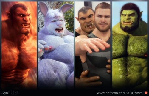 High temperatures for a month of April surrounded by muscular and manly creatures! Difficult to not sweat! https://patreon.com/ADGames #3d#ad games#patreon