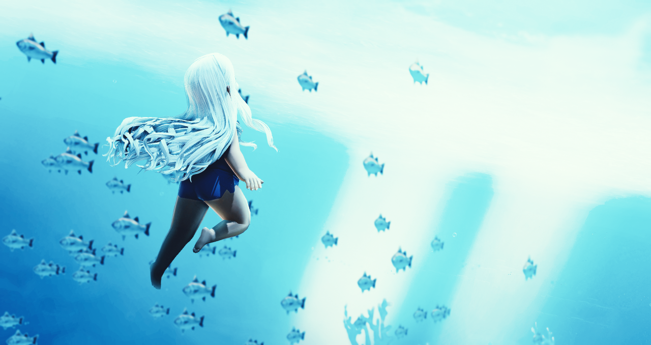 waltzing the waves, diving in the deepffxivwrite2021 #27: benthos⮞ lunya/graha, with friends. 1188 words. ⮞ aquarium au. ⮞ an aquarist-turned-mermaid-performer gets a new outfit.  benthos:  the flora and fauna found on the bottom, or in the bottom sediments, of a sea, lake, or other body of water.In the depths of the water, the colours and sounds of the surface were muted and distorted, but Lunya knew what they wanted from her when their shadows fell over this deep. She twisted from her sitting position on a collection of large, smooth rocks that nestled in the sand, white hair and bubbles wisping around her and the tropical fish at her fingertips scattering as she kicked upwards, chasing the shapes of red and lavender high above.Melmeltan was sliding a styrofoam box to the edge of the pool as Lunya broke the surface, and she shrieked out a startled hiss when Lunya flipped her hair back and sent a shower of water droplets flying at her with a mischievous laugh. Sitting with the Miqofell girl on the walkway around the top of the tank, Graha laughed and took the sudden spray of water in stride.Lunya! I know this is an aquarium, but not all of us are supposed to get wet, Melmeltan chided, shuddering as the water on her skin trickled down her arms. Why she decided to go into marine horticulture when she was uncomfortable with so much water was a mystery. Probably, Lunya agreed with a twinkle in her eye as she swam over and propped herself up from the water and onto the edge, resting her chin on her folded arms. But maybe we wouldnt have that problem if our resident horticulturist knew how to swim. The other girl rolled her eyes good-naturedly. Im a cat, she reminded Lunya—no, youre not! Graha gasped—and one of her feline ears flicked for emphasis as if it was a valid excuse at all and not insulting to the scholars whod protested for centuries that Miqote and cats had no real relation. I dont have to swim because we have you, silly. Shes got a point, Graha said, ruffling