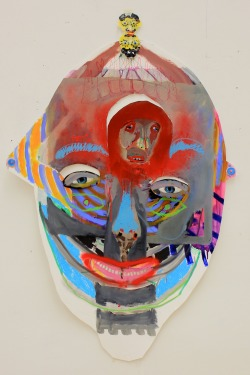marlenesteyn:  Brow brother, 2013; Oil, spraypaint & mixed media on cut-out Fabriano paper.