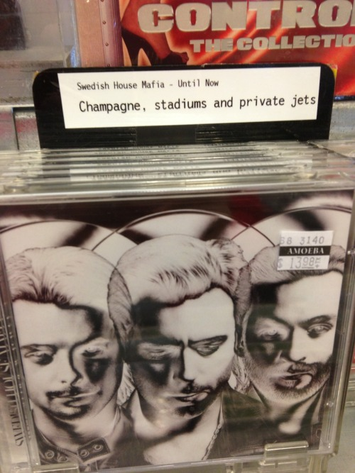 "This is how Amoeba summarizes Swedish House Mafia's ""Until Now."" They got me at ""champagne""… Happy Record Store Day!"