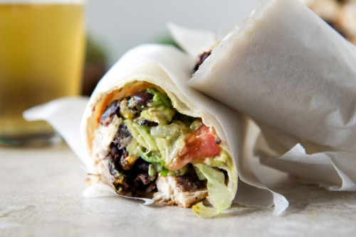 tequila lime chicken and black bean burrito.