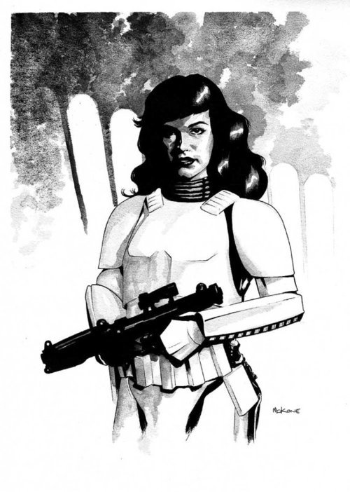 Bettie Page stormtrooper - by Mike McKone (as seen on etsy).