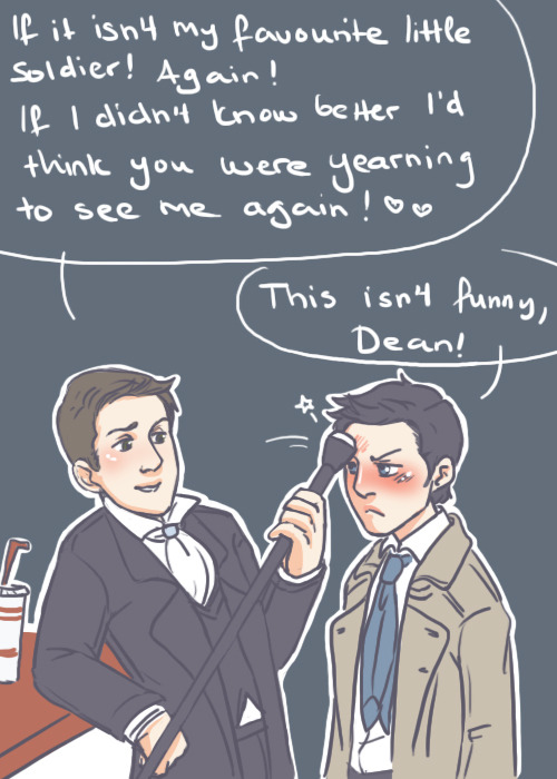 "diminuel:  ""Chill, Cas. Do you want a burger before I revive you?"" AU in which Death!Dean fell in love with an angel that just keeps on dying (and being revived). Part 3 of me saying thank you to my lovely followers! :3"