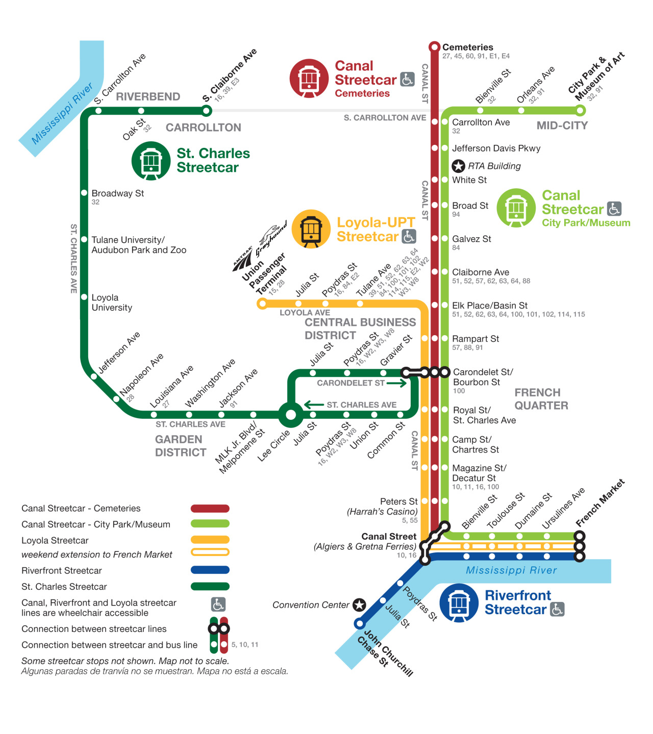 Official Map: Streetcar Network, New Orleans Brought to my attention by Transit Maps follower, Alex Marshall, this is the latest New Orleans streetcar map, updated after the opening of the new Loyola Avenue line in January of this year.  Have we been there? No. One day! What we like: Informationally, it does the job, I guess. It shows the routes and connections to other services in a neat, easily understandable way. It's just so… dull. What we don't like: The very best transit maps have a sense of place about them, and one could argue that New Orleans is like no other place on earth. The sheer amount of history represented by the historic streetcars and the unique culture of the city itself should be represented in this map, yet are completely absent. Instead, we're given a bland, generic map that could be from just about anywhere. Quickly looking at a geographical map of the network gives me so many ideas, I may just have to whip something up myself. The smooth curve of the St. Charles Line wrapped in the meandering shape of the Mississippi River could be so beautiful if handled well… Also of note: apparently, the only two points of interest on the entire streetcar network are the Convention Center and NORTA's own building. I never knew New Orleans could be so exciting. Our rating: A hugely wasted opportunity to create something as memorable as the Big Easy itself. Competent but extremely dull. Two-and-a-half stars.  (Source: Official NORTA website)