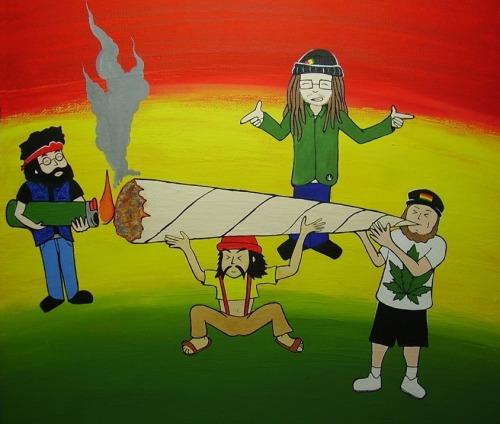 Cheech and Chong meet Josh Heinrichs & SkillinJah inna Art BY David Flores stylee ; )
