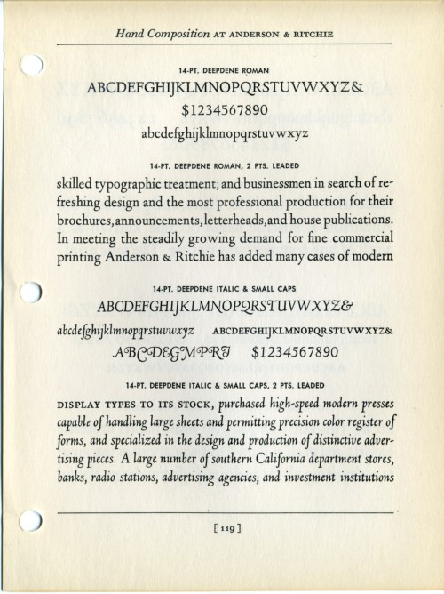 This is a specimen of Fred Goudy's Deepdene typeface, designed in 1927.