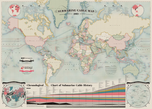 explore-blog:  The 2013 submarine cable map of the world, reminding us of the striking physicality of the internet.