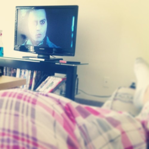 Pjs and Sweeney Todd. Sunday, the day of rest. #lazyday #Sweeney #todd