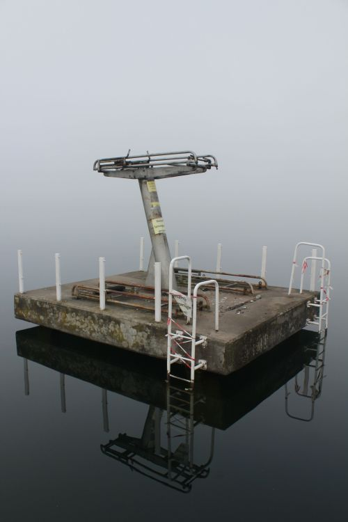 destroyed-and-abandoned:  Derelict diving board in a former communist youth camp. Werbellinsee , Germany.Source: Enture (reddit)