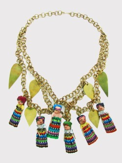 "mediumloves:  The ""Bo Kaap"" necklace, full of worrydolls, a mix of Guatemalan heritage and style. Before: 110.00 USDNow: 55.00 USDDon´t miss the discounts! Shop here!http://medium.tictail.com/product/bluemarine-clutch-bag"