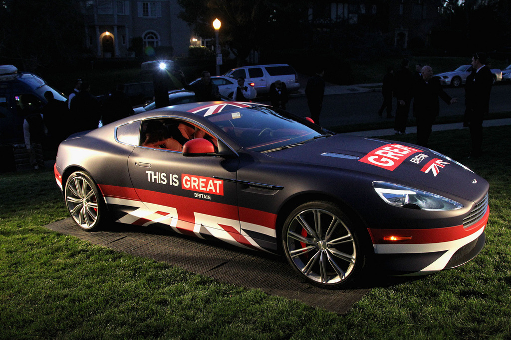The GREAT Britain Aston Martin on the lawn of the British Consul General's Residence in Los Angeles for the GREAT British Film Reception!