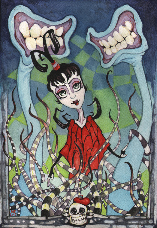 "eatsleepdraw:  ""Strange and Unusual"" My new painting for the group show, Saturday Morning Cartoons!Opens Saturday April 6th at the Comic Hero University in Fullerton, CA. watercolor and colored pencil on paper7"" x 10"" aren't we all a bit strange and unusual?"