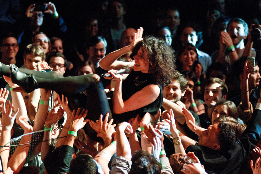 St. Vincent crowdsurfing during Crossing Brooklyn Ferry at Brooklyn Academy of Music, May 4, 2012 - more on BrooklynVegan. © Amanda M Hatfield