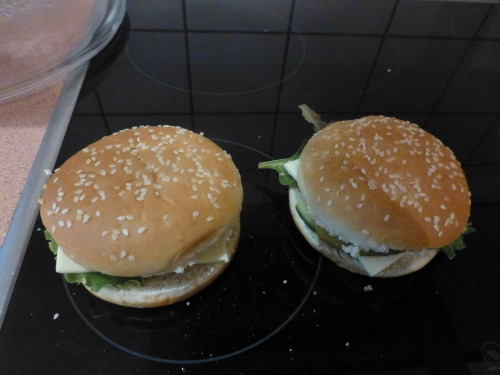 yay I made myself some yummy vegetarian burgers ^-^