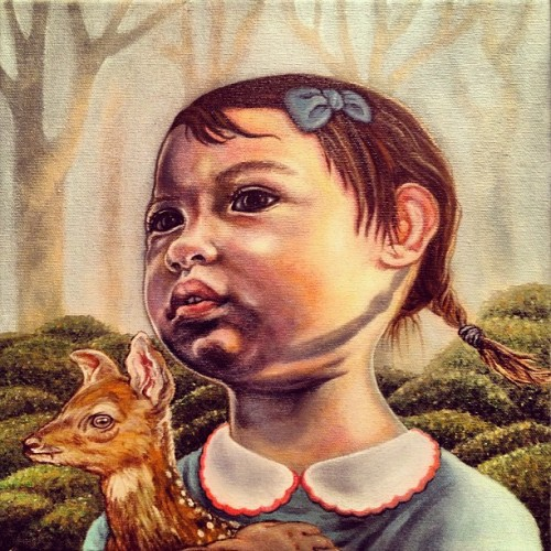 I think I'm done…  maybe a little touching up later? #baby #portrait #fawn #deer #forest #peterpancollar #blue #brown #asian #mixedethnicity #art #illustration #paint #painting #igartists #artistsoftumblr #bow #littlebows #braids #moss #mumbot