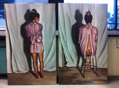 """Pink Shirt: Women v.s. Time"" Oil on Canvas 2013"