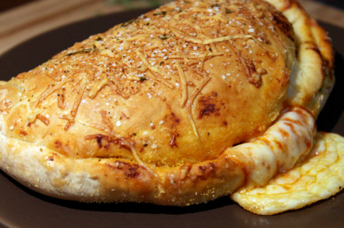 mydogisawsome:  Cheesy Pepperoni Calzone