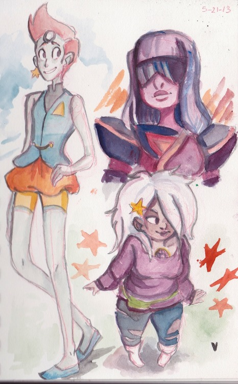 pearl, amethyst, and garnet! i had to watercolor them real quick i just love their designs eeeeee