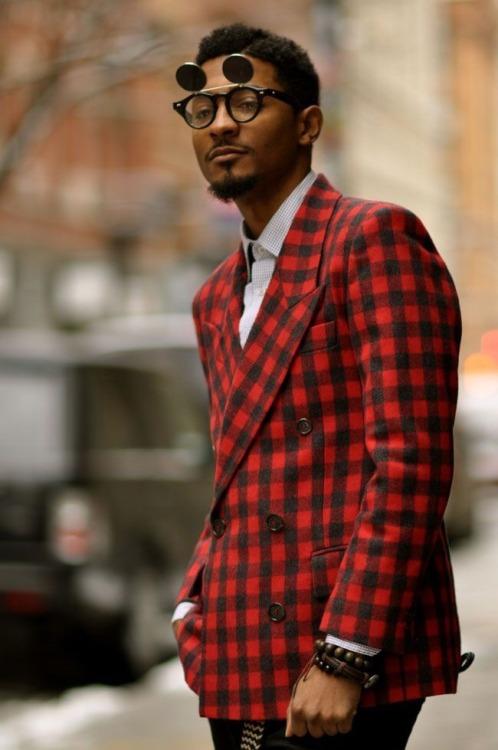 赤黒チェックダブルジャケット×グラフチェックシャツ