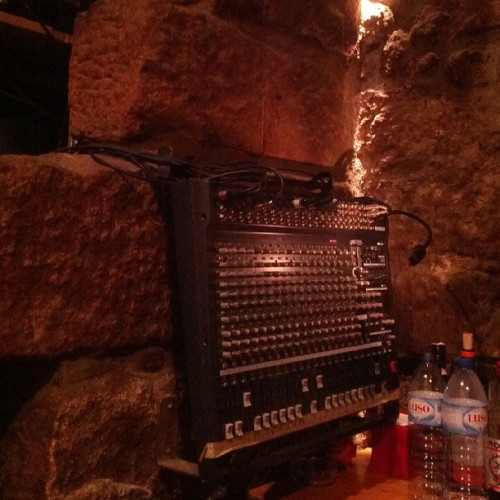 Mixing deck built into castle  walls.