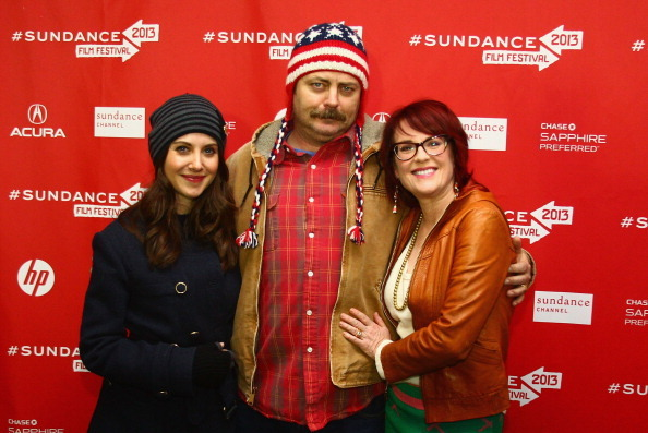 Alison Brie, Nick Offerman and Megan Mullally at the Sundance Film Festival premiere of Toy House, January 19th APPROVING NOISES!!
