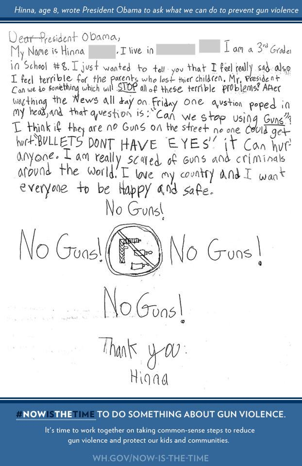 "kileyrae:  ""After the tragedy in Newtown, Hinna, age 8, wrote President Obama a letter asking him to take action on gun violence. Today, she joined the President at the White House as he announced his plan."""